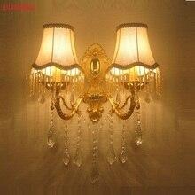 Trasporto Libero di Cristallo Moderna applique da parete moda staffa a parete di cristallo k9 Dorata Moderna lampade da parete di cristallo dorato di Lusso sconce