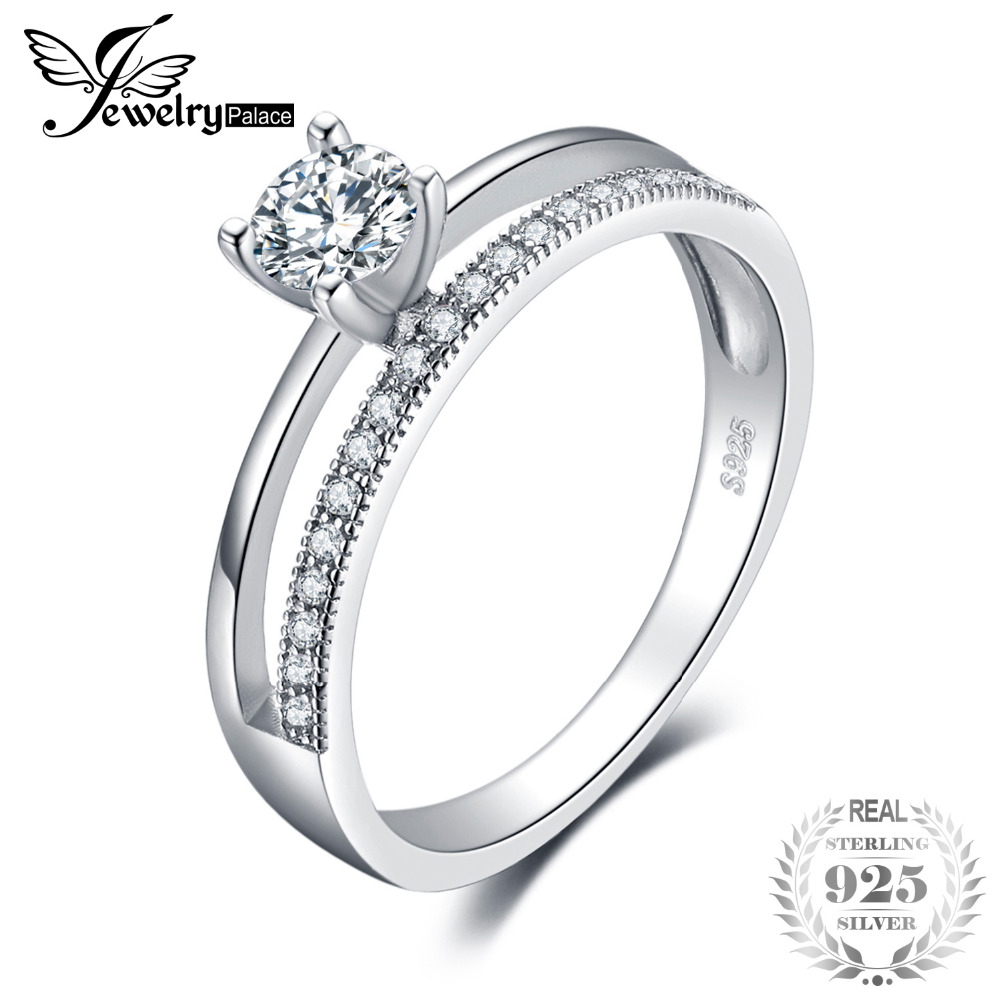 JewelryPalace 0.6ct Cubic Zirconia Anniversary Wedding Band Engagement Ring Set Guard Enhancer