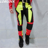 Singer Dacner Bar Male Trousers A Concert In Conjunction With The Locomotive Mosaic Costume Fluorescent Color