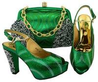 Green European and Italian Women's Matching Bag Decorated with Rhinestones Italian Ladies' Shoe and Bag M006