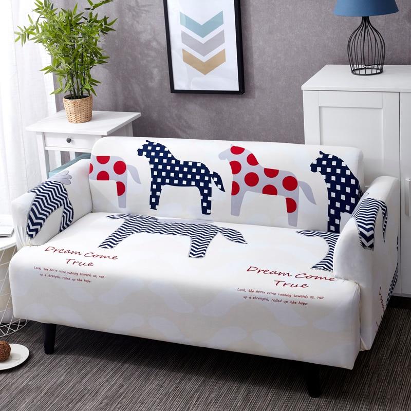 Univesal sofa cover unicorn pattern stretch corner sofa