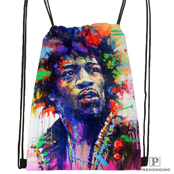 Custom Jimi-Hendrix Drawstring Backpack Bag Cute Daypack Kids Satchel (Black Back) 31x40cm#2018612-01-20