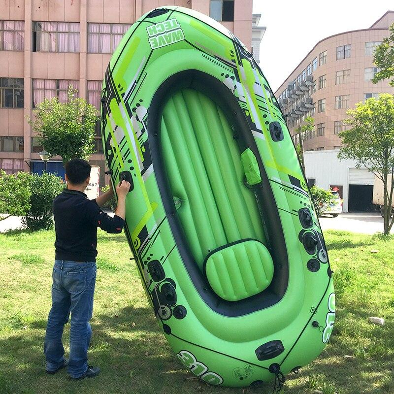 4 personne 300*145*45 cm pvc gonflable bateau de pêche radeau bateau PVC aviron kayak bateau paddle rame pompe siège coussin sac en caoutchouc dériveur