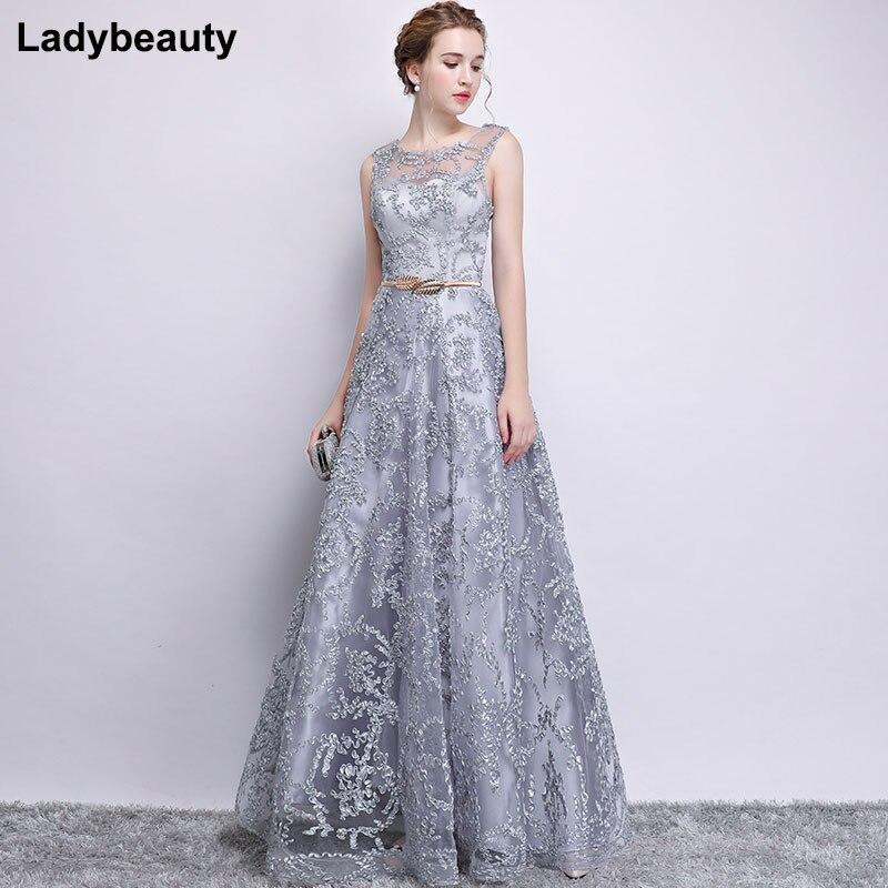 New 2018 Evening Dress Elegant Banquet Champagne Lace Sleeveless ...