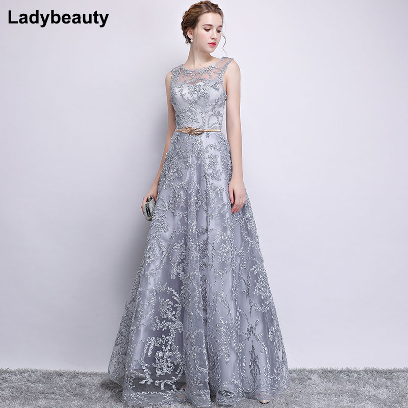 New 2018 Evening Dress Elegant Banquet Champagne Lace Sleeveless Floor length Long Party Formal Gown plus size Robe De Soiree