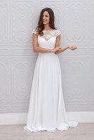 2017 A Line Bateau Appliqued Vestido De Noiva De Renda White Long Vintage Bride Dresses With