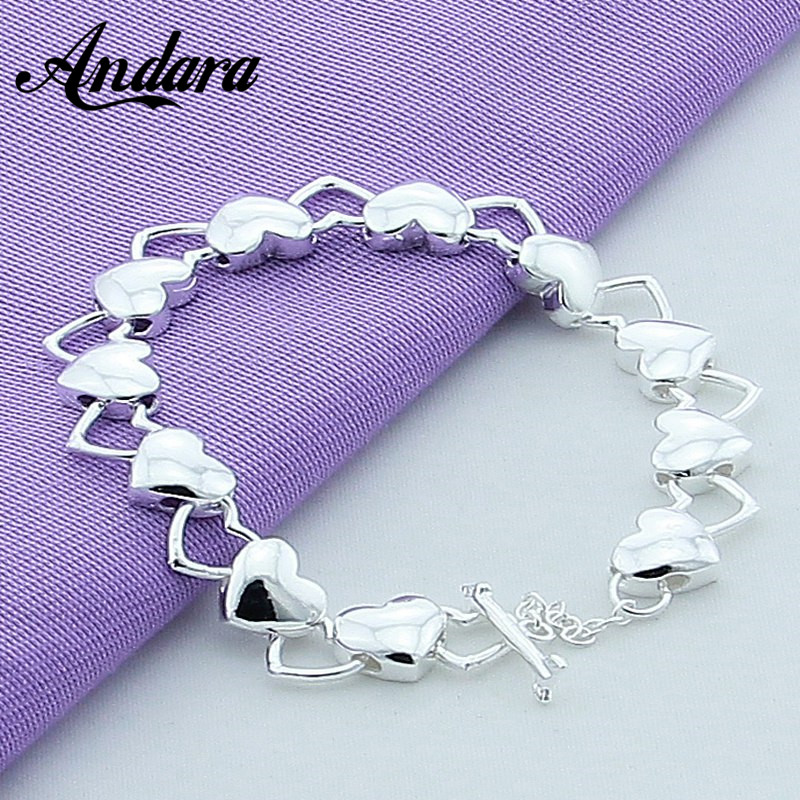 925 Silver Bracelets Fine Jewelry For Women Heart to heart 2017 New Top Quality Black Friday