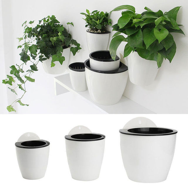 Self Pouring Indoor Plant Wall Mounted Resin Plastic Creative Circular Planter Villa Simple