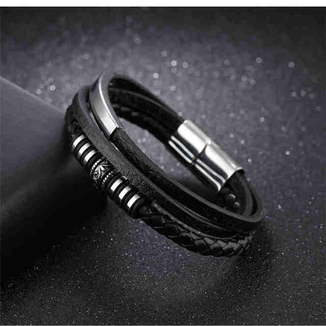 Black Leather Bracelet Stainless Steel Black Color Magnet 200mm