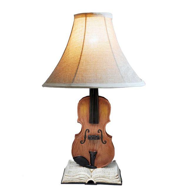 Creative Violin Bedside Desk Lamps Cute Vintage Kids Room Table Lights  Living Room Decorative Desk Lamp