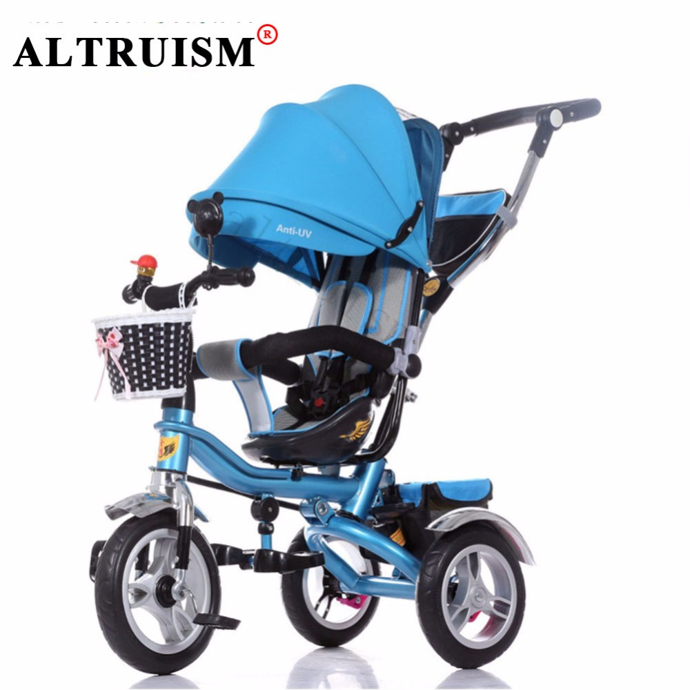 Altruism Multifunctional stroller Inflatable Rubber tires baby tricycle sunshade seat direction shock absorption child bicycle baby stroller pram bb rubber wheel inflatable tires child tricycle infant stroller baby bike 1 6 years old bicycle baby car