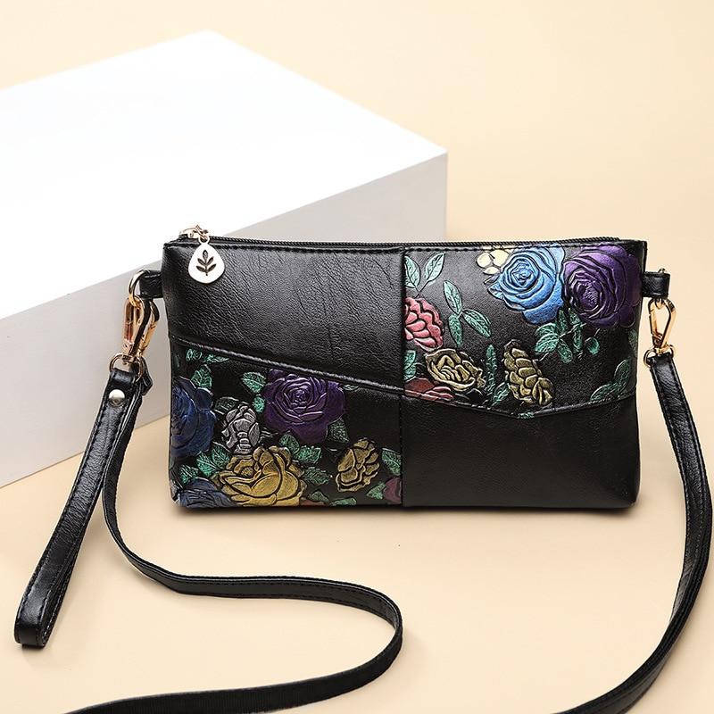 2019 Women Bag Female Shoulder Bag Flower Floral Crossbody Leather Zipper Pocket Messenger Handbags Mini Femme Designer Vintag 4