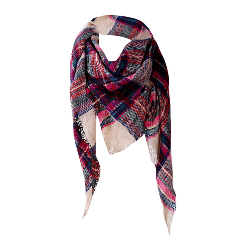 New Designer Acrylic Basic   Scarf   Tartan Cashmere   Scarf   Shawls Winter   Scarf   Women Plaid Blanket Women's   Scarves     Wraps   *0.7