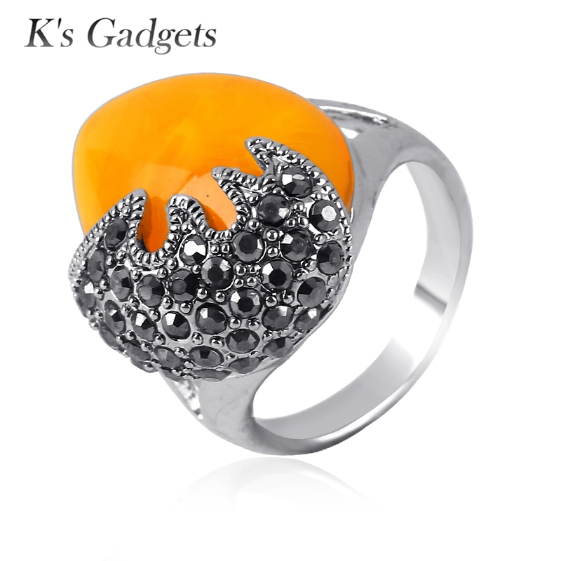Ks Gadgets Antique Silver Plated Faux Imitation Statement Yellow Stone Vintage Fashion Engagement Jewelry Rings for Women