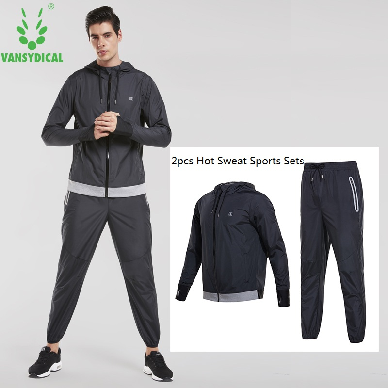 Mens Hooded Running Suits 2 pcs Fitness Gym Clothes Vansydical Hot Sweat Training Sports Sets Man Workout Cincher Suits