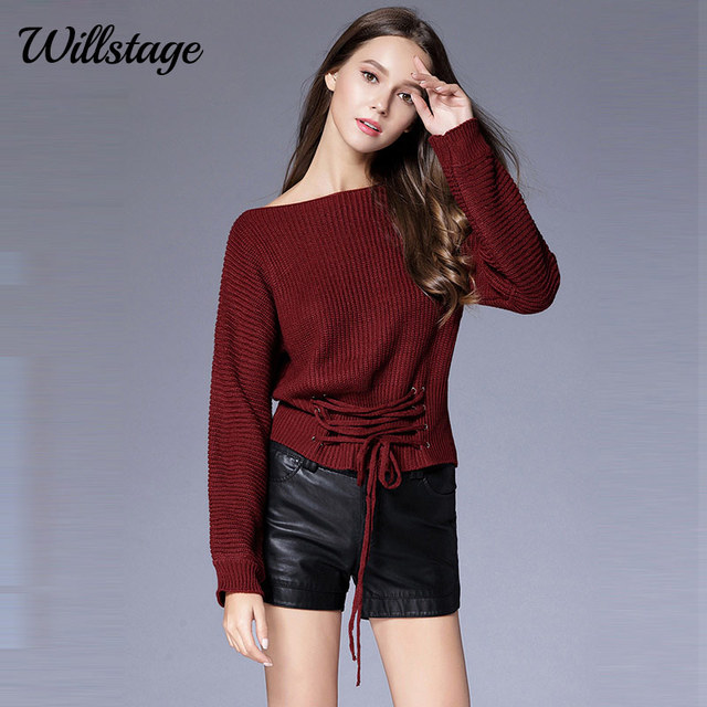 d20c7bff8e Willstage Women Sweaters Front Lace-up Criss-cross Sexy off the shoulder  Long Sleeve Warm Knitted Top Loose Casual Pullovers New