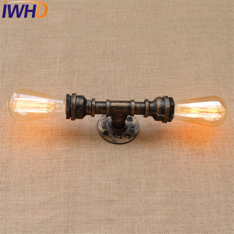 IWHD Loft Style Industrial Vintage Wall Lamp Iron Edison Wall Sconce Double Water Pipe Wall Light Fixtures Home Lighting loft style edison decorative wall sconce mirror wall light fixtures vintage industrial lighting wall lamp for home lampara