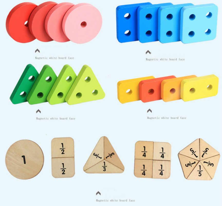 MWZ Cor Cognição Digital Brinquedo De Madeira Crianças Cedo Educacional Infância Forma Geometria Cinco Colunas de Emparelhamento Jogo de Puzzle