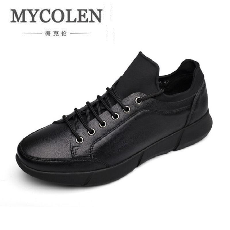 MYCOLEN New 2017 Luxury Brand Men Shoes Casual Leisure Leather Shoes Breathable Male Footear Men's Flats zapatos de los hombres new fashion men luxury brand casual shoes men non slip breathable genuine leather casual shoes ankle boots zapatos hombre 3s88