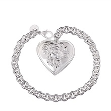 Silver plated exquisite luxury fashion caring retro photo frame bracelet  temperament charm jewelry birthday gift H347