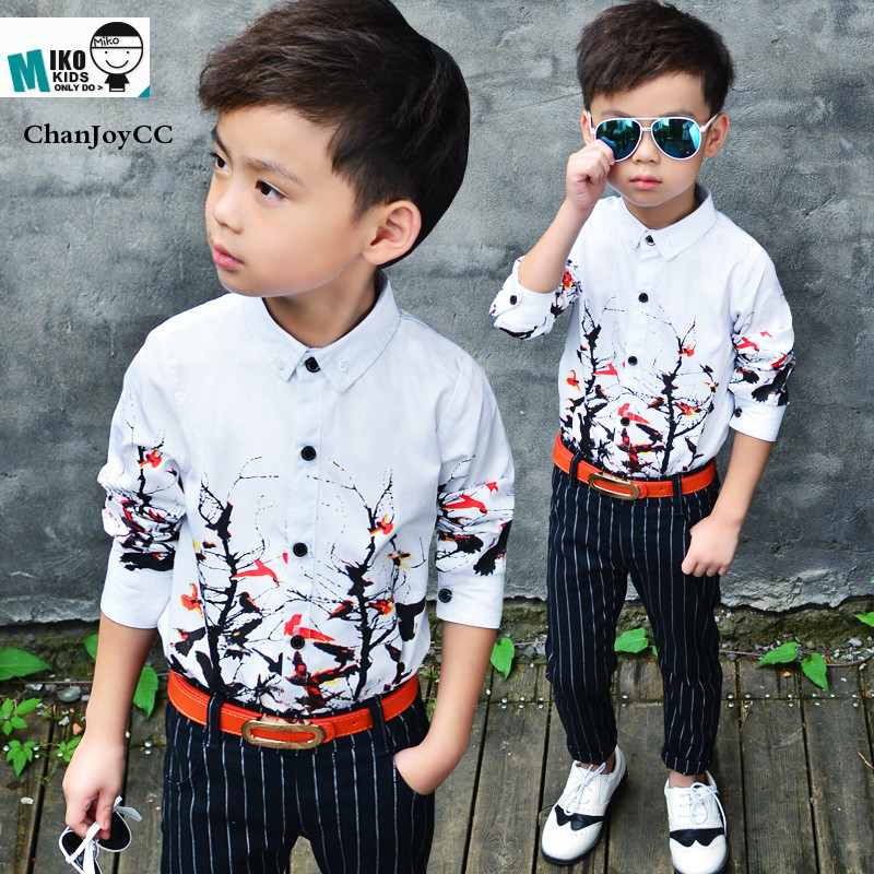 ChanJoyCC Boy's Shirt 2017Hot Sale Kid White Long Sleeves Shirt With Fashion Pattern Cotton100% Children's clothes stripe pattern off shoulder long sleeves waist tie playsuit with tassel detail page 3
