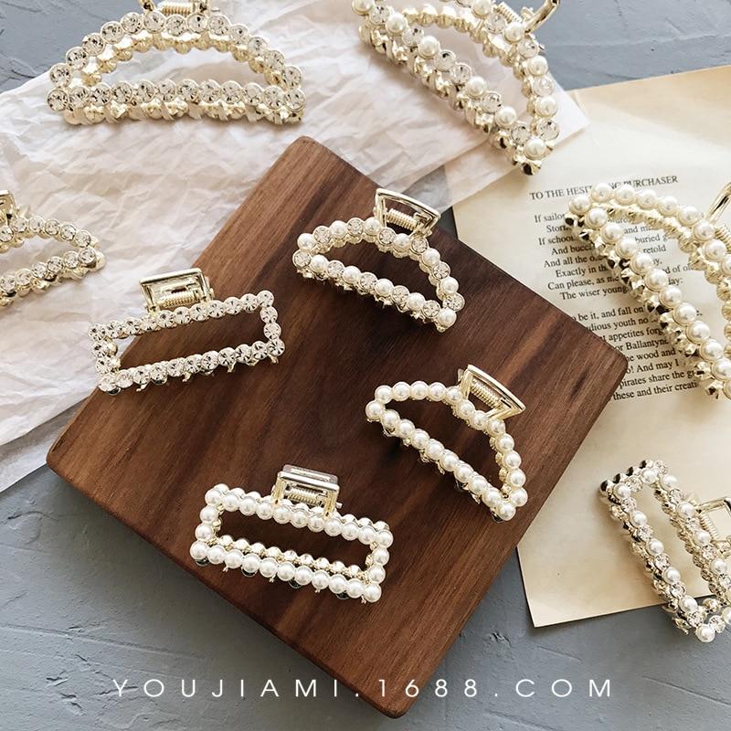 2019 New Crystal Rhinestone Pearl Hairpins Hair Clip Pearl Hair Crab Plastic Hair Claws For Women Clamp Resin Barrette Top Gripp