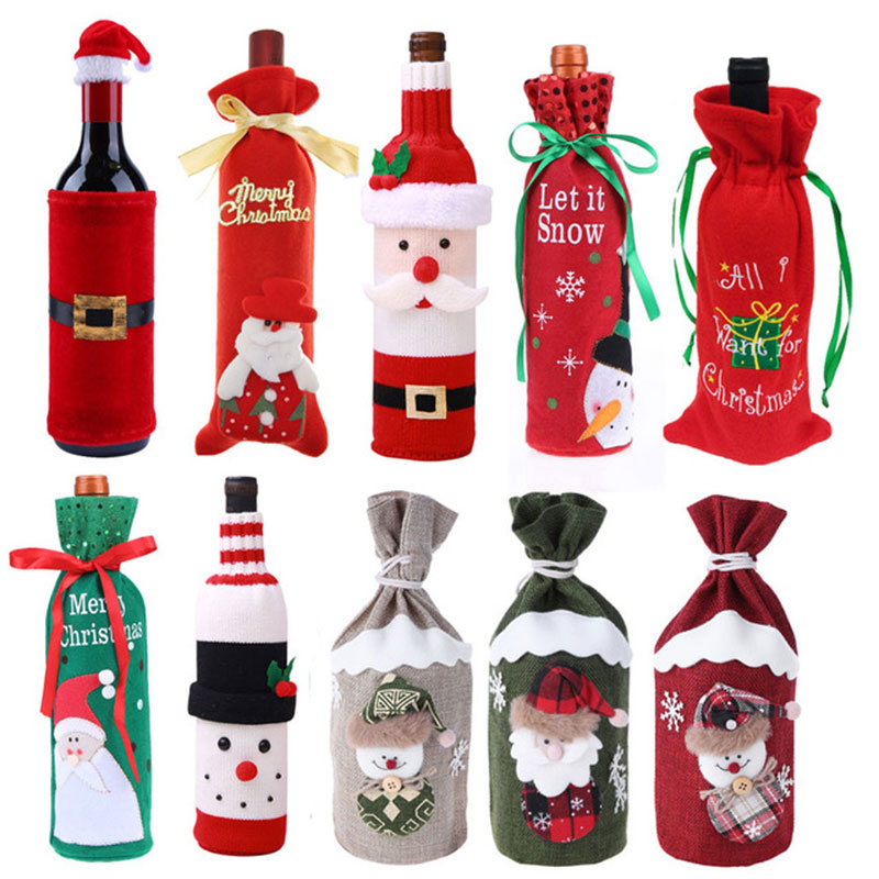 1 Pcs Christmas Wine Bottle Cover Bags Red Wine