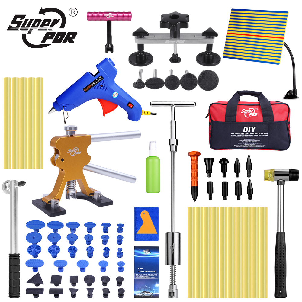 Super PDR Tools Dent Repair Tool Auto Ferramentas Dent Puller Suction Cup Paintless Dent Removal Kit Line Board Hand Tools Sets dent puller kit pdr tools paintless dent repair removal tool car straightening instruments hand tool set ferramentas suction cup