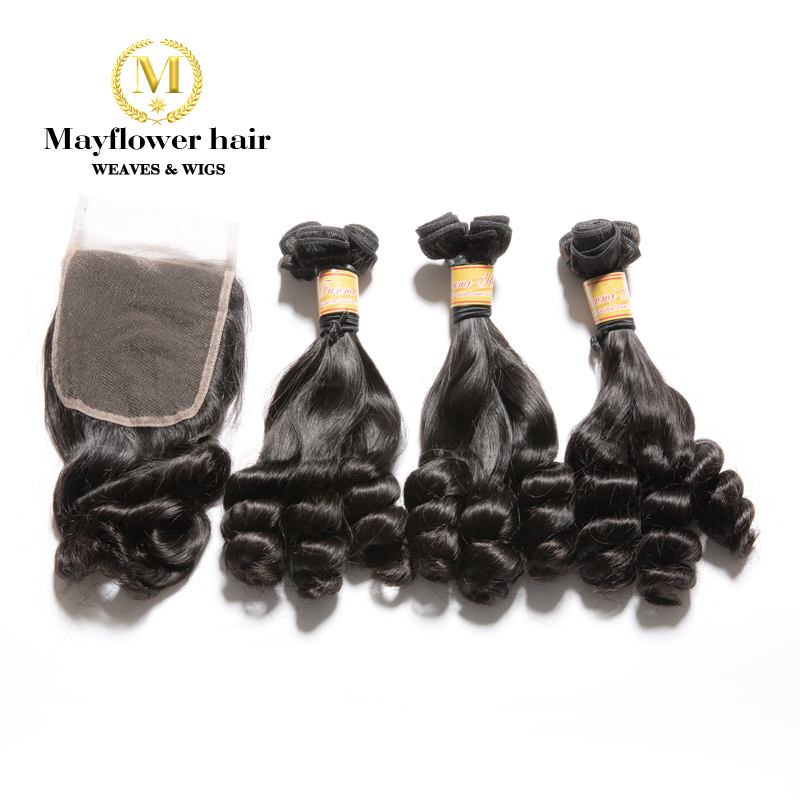 """Mayflower 2/3/4 Bundles Funmi Hair Duchess Curl With 4x4 Closure Double Drawn Remy Hair Weft  8-18""""  Natural Black Free Shipping"""