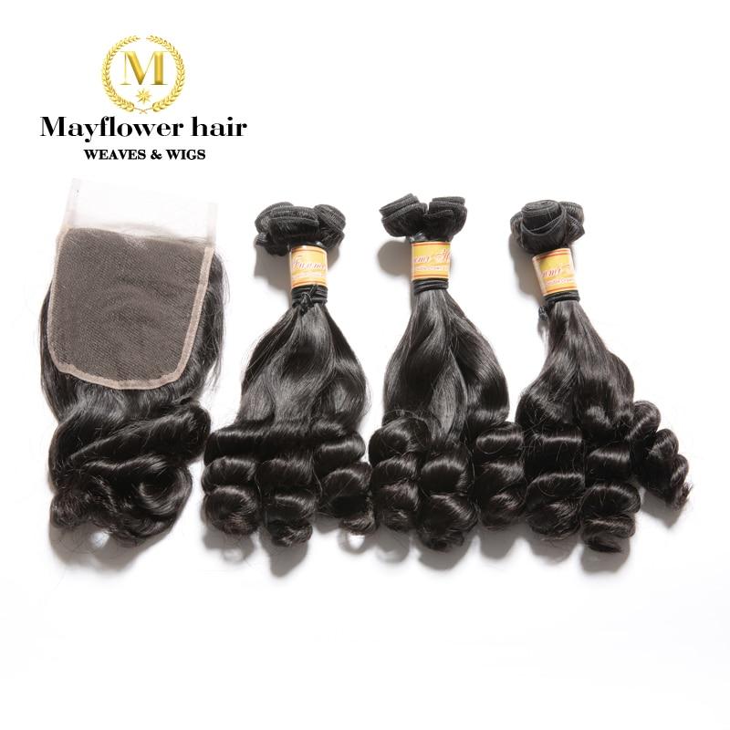 Mayflower 2/3/4 Bundles Funmi Hair Duchess Curl With 4x4 Closure Double Drawn Remy Hair Weft  8-18