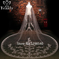Real One Layer 3M Long Lace Cathedral Wedding Veil With Crystal White/Ivory Applique Bridal Veil With Sequin Velos De Novia WB56