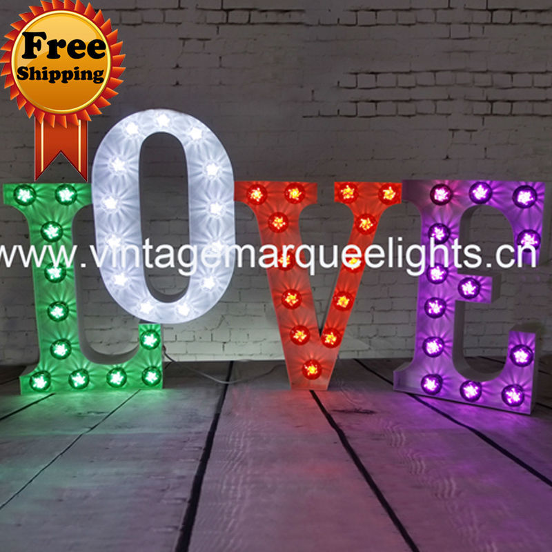 distressed metal letters light of 24 inch vintage marquee lights a z 26 letterssigns and free shipping in novelty lighting from lights lighting on