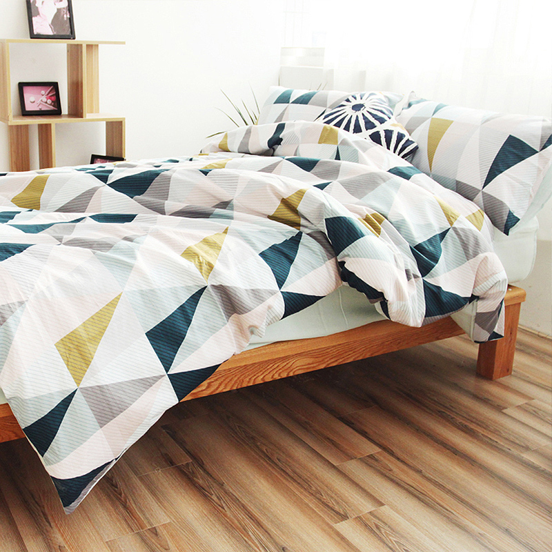 Cotton nordic style bedding set quilt cover twin blue for Housse de couette 240x260 soldes