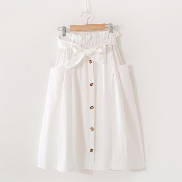 Vintage Pure Color Midi Boho Skirt