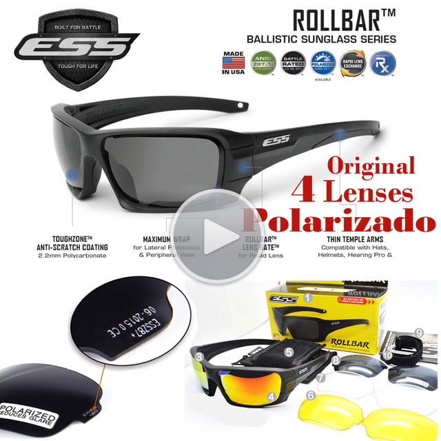 c7a60b6ab957 Original Quality Polarized Ess ROLLBAR Sunlgasses Men UV Protection 4  Lenses Oculos De Sol Goggles Revo