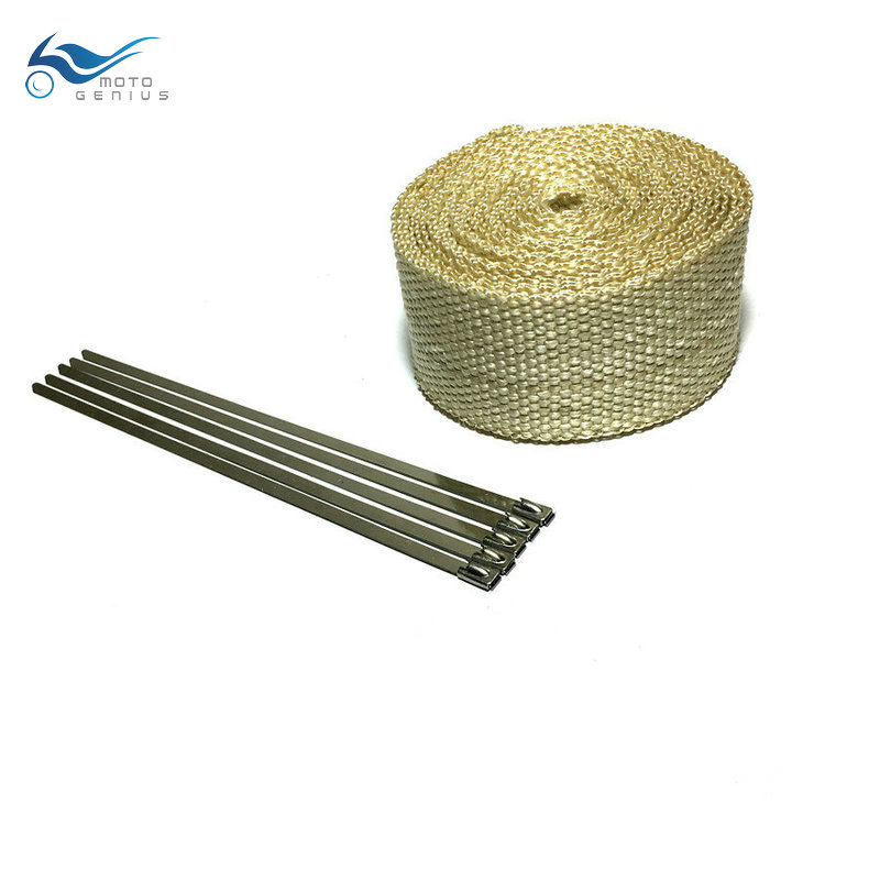10 m Beige Color Exhaust Pipe Tape Heat Resistant Wrap Exhaust Wrap With Cable Ties