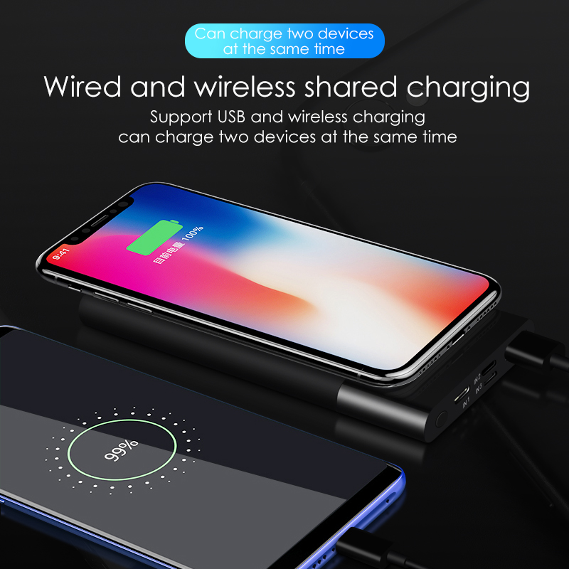 VVKing 10000mAh Power Bank Qi Wireless USB Charger For iPhone Samsung Xiaomi Huawei LCD Portable External Battery Pack Charger in Mobile Phone Chargers from Cellphones Telecommunications