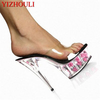 Fashion High Heeled Shoes 15cm Thin Heels Rose Formal Dress Slippers 6 Inch Sexy Flower Crystal Shoes