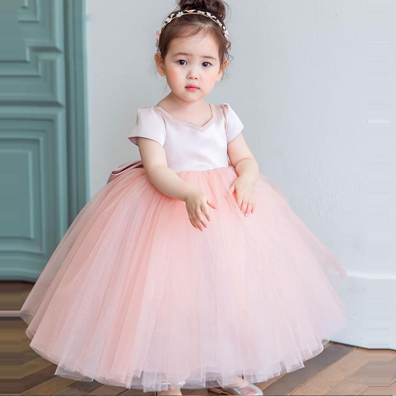 Baby Princess Dress Pink Girl's Mesh Dress Summer Ball Gown Big Bow Flower Girl Dress Kids Pageant Dresses Tulle Gowns E318
