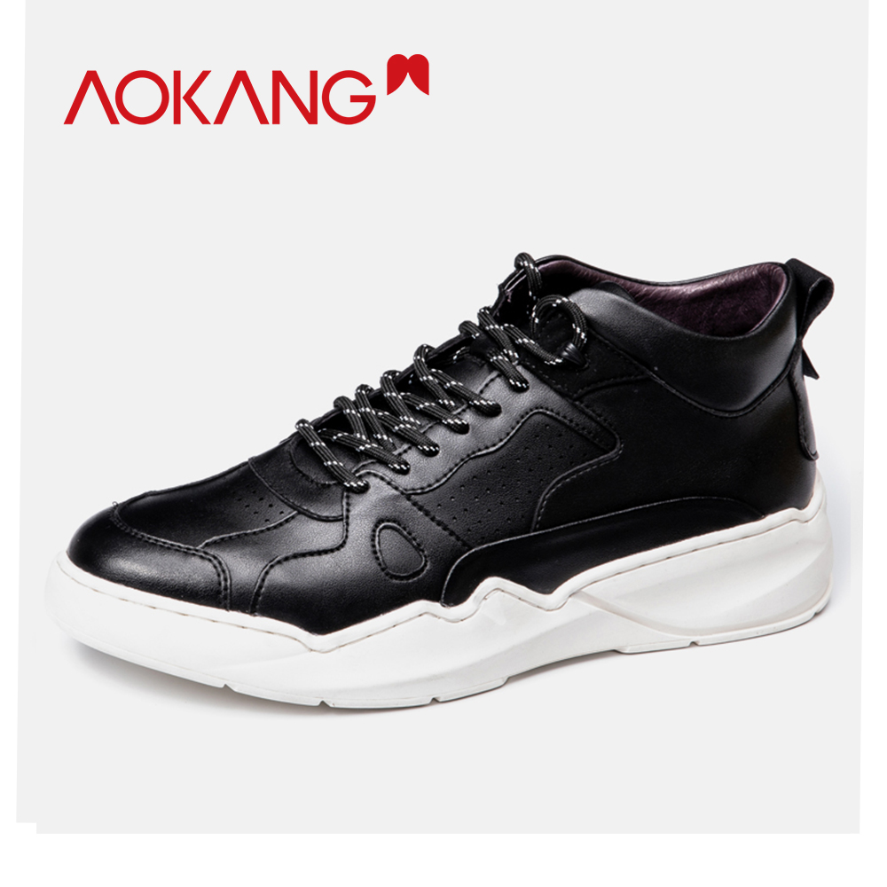 AOKANG 2019 Fashion shoes men ins sneakers comfortable Flats Platform Shoes men breathable genuine leather walking