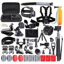 50-en-1 Action Sports Cámara Kit de Accesorios para Gopro HÉROE 1 2 3 3 + 4 SJ4000 SJ5000 Cámara de Vídeo A Prueba de agua con Funda de Transporte
