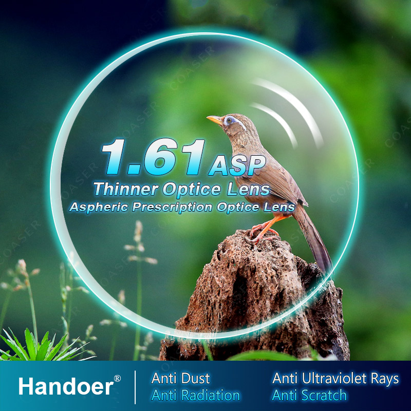 Handoer Index 1.61 Anti-Radiation Protection Optical Single Vision Lens HMC, EMI Aspheric Anti-UV Prescription Lenses,2Pcs