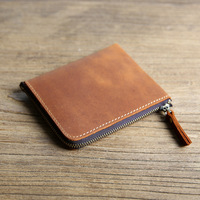 Genuine Leather Male Purse Crazy Horse Handmade Money Bag Vintage Short Small Zipper Wallet Men High