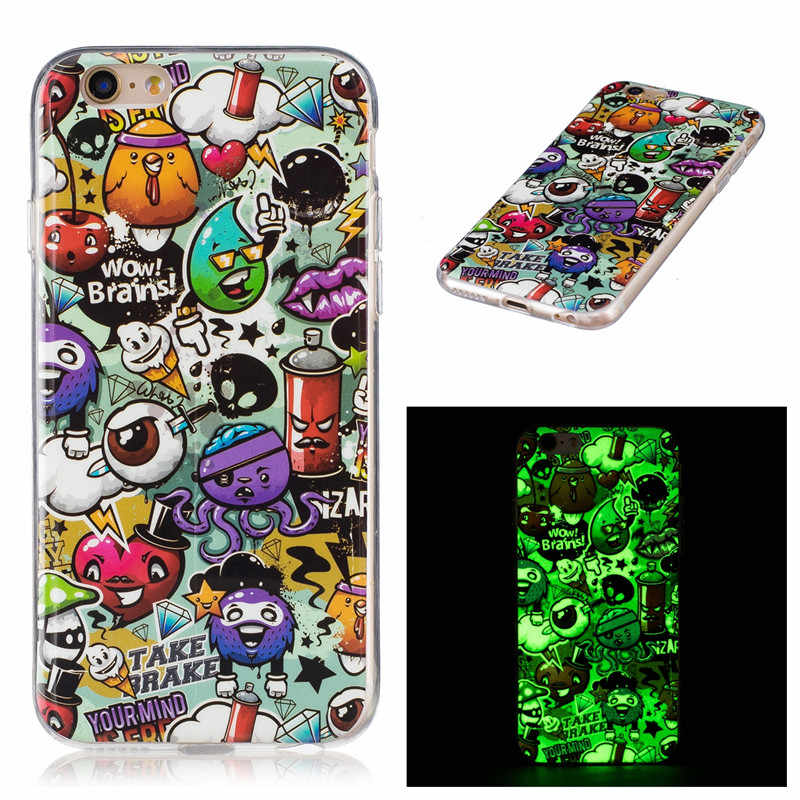 Para iPhone 6 Ultra Thin Owls cráneo impreso luminoso suave TPU caso para iPhone 5 5C 5S 6s 6S Plus 7 8 Plus X XS contraportada
