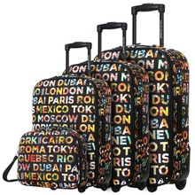 DAVIDJONES Lightweight Vintage Print 4 Piece Luggage Set 20 24 28 cosmetic case WomenTravel Bags Suitcase