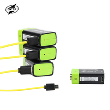 ZNTER 1pcs 9V 400mAh lithium li-po li-ion rechargeable battery + micro usb cable for charging