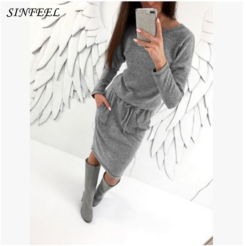 Gray Knitted Casual Sweater Dress 2017 New Womens Autumn and Winter Bodycon vestidos Long Sleeve Pocket Fitness Bandage Dresses