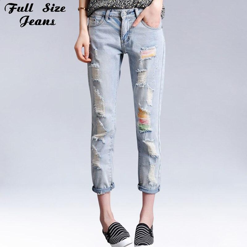 Summer Boyfriend Plus Size Loose Ripped Cropped   Jeans   Colored Print Denim   Jean   Femme Large Size Capris Harem Pants 6XL 7XL S 4XL