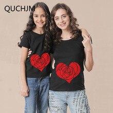 Одинаковые комплекты для семьи; коллекция года; летняя черная Повседневная футболка с принтом «любовь» для мамы и дочки; одежда для мамы и дочки