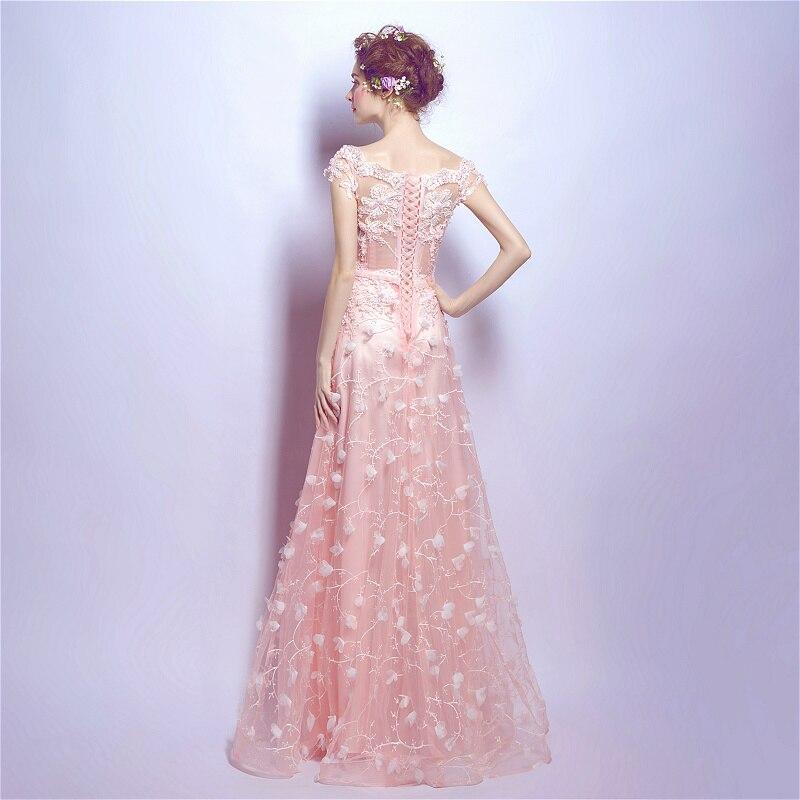 CX Shine Colorete Pink manga corta Encaje flor larga Vestidos de ...